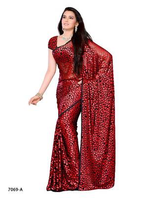 Polka Dotted Style Stunning Party Wear Saree made from Brasso Fabric