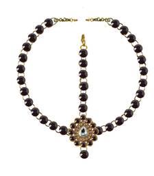 Buy Brass gold platted  Purple stone studded  Maang tikka set maang-tikka online