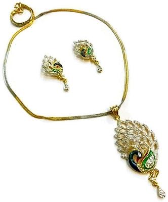 Traditional peacock AMERICAN DIAMOND Pendent SET