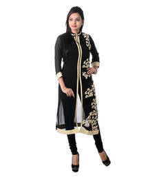 Buy Black Embroidered Georgette Kurti kurtas-and-kurti online