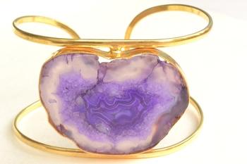 Semi Precious Purple Hand Cuff and free surprise gift