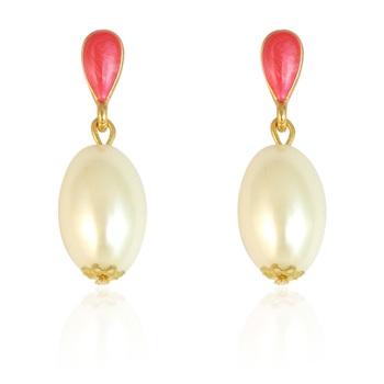 Beige Pearl Beads Drop Earring