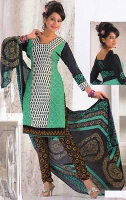Crepe dress material elegant designer unstitched salwar suit d.no 8010