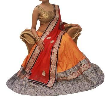 Orange and Red/Gold Raw silk Lehenga