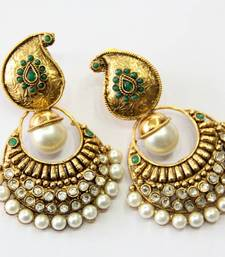 Buy ANTIQUE GOLDEN GREEN N WHITE PEARLS HANGINGS Other online