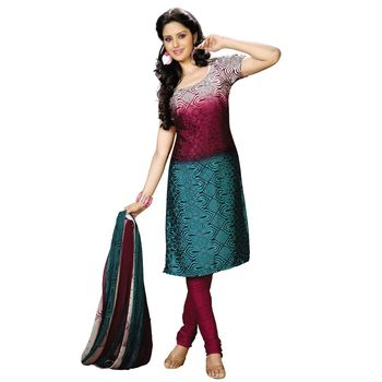 Fabdeal Green & Red Colored Crepe Jacquard Party Wear Printed Dress Material