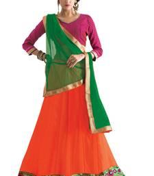 Buy Pink embroidered net unstitched lehenga-choli navratri-lehenga-chaniya-choli online