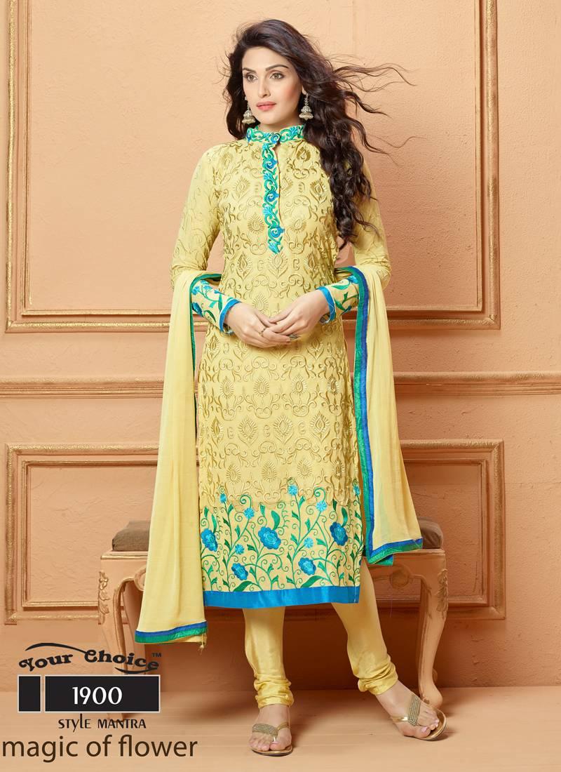 Stand Collar Neck Designs For Salwar Kameez : Buy yellow embroidered salwar with dupatta online