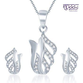 Sukkhi Graceful Rodium plated CZ pendants Set