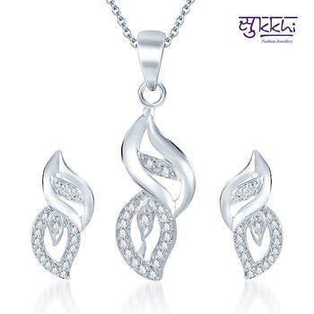 Sukkhi Marvellous Rodium plated CZ pendants Set