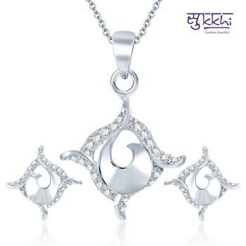 Sukkhi Modern Rodium plated CZ pendants Set