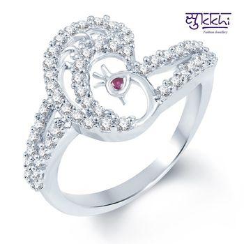 Sukkhi Pretty Rodium plated CZ Studded Ring