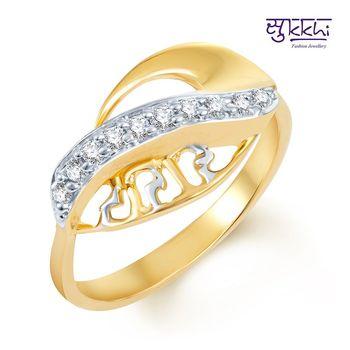 Sukkhi Splendid Gold and Rhodium Plated CZ Ring