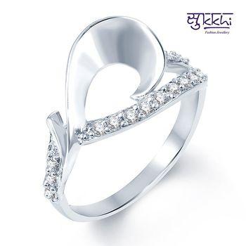 Sukkhi Magnificent Rodium plated CZ Studded Ring