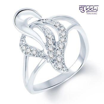 Sukkhi Stunning Rodium plated CZ Studded Ring