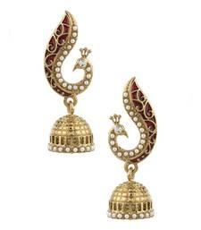 Buy Peacock Inspired Pair Of Jhumki Earrings With Red Enamel danglers-drop online