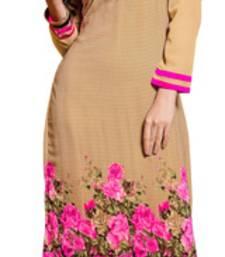 Buy Beige and Pink printed Georgette kurtas-and-kurtis rakhi-with-sweet online
