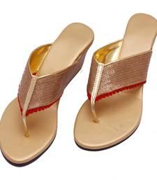 Buy Golden Sequine Rexin V Style Sandal heels footwear online