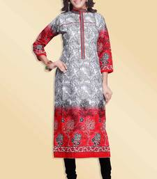 Buy Red & Grey Pure Cotton Stitched Printed With Embroidery Kurti kurtas-and-kurti online