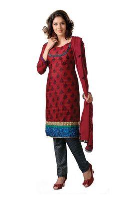 Fabdeal Casual Wear Red & Grey Colored Bhagalpuri Silk Dress Material
