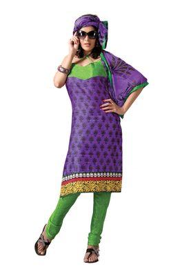 Fabdeal Casual Wear Purple & Green Colored Bhagalpuri Silk Dress Material