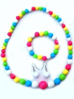 Multicolored Bead Pendant Set