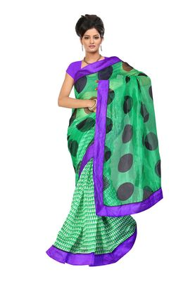 Fabdeal Green Net Printed Saree With Blouse Piece