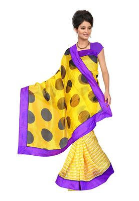 Fabdeal Yellow Net Printed Saree With Blouse Piece