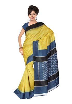 Fabdeal Yellow & Teal Silk Blend Printed Saree With Blouse Piece