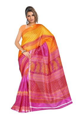 Fabdeal Pink & Orange Silk Blend Printed Saree With Blouse Piece