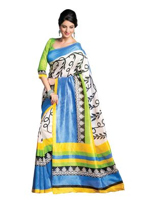 Fabdeal Yellow & Green Bhagalpuri Silk Printed Saree With Blouse Piece