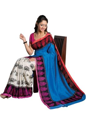 Fabdeal Blue & White Bhagalpuri Silk Printed Saree With Blouse Piece