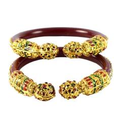 Buy Extra Large size Brass and Acrylic Bangle Color Maroon bangles-and-bracelet online