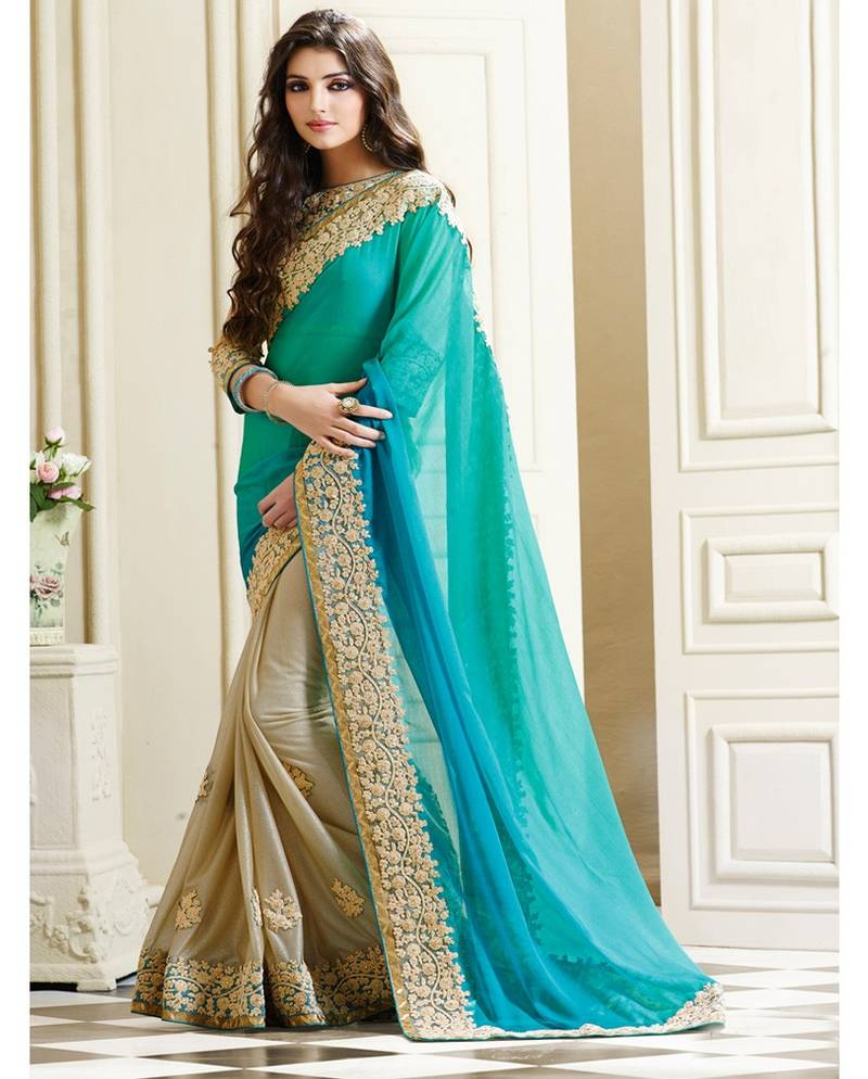 Wedding White Sarees Online: Buy Sea Green And Beige Embroidered Chiffon Saree With