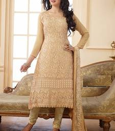 Brown embroidered Georgette semi stitched salwar with dupatta shop online
