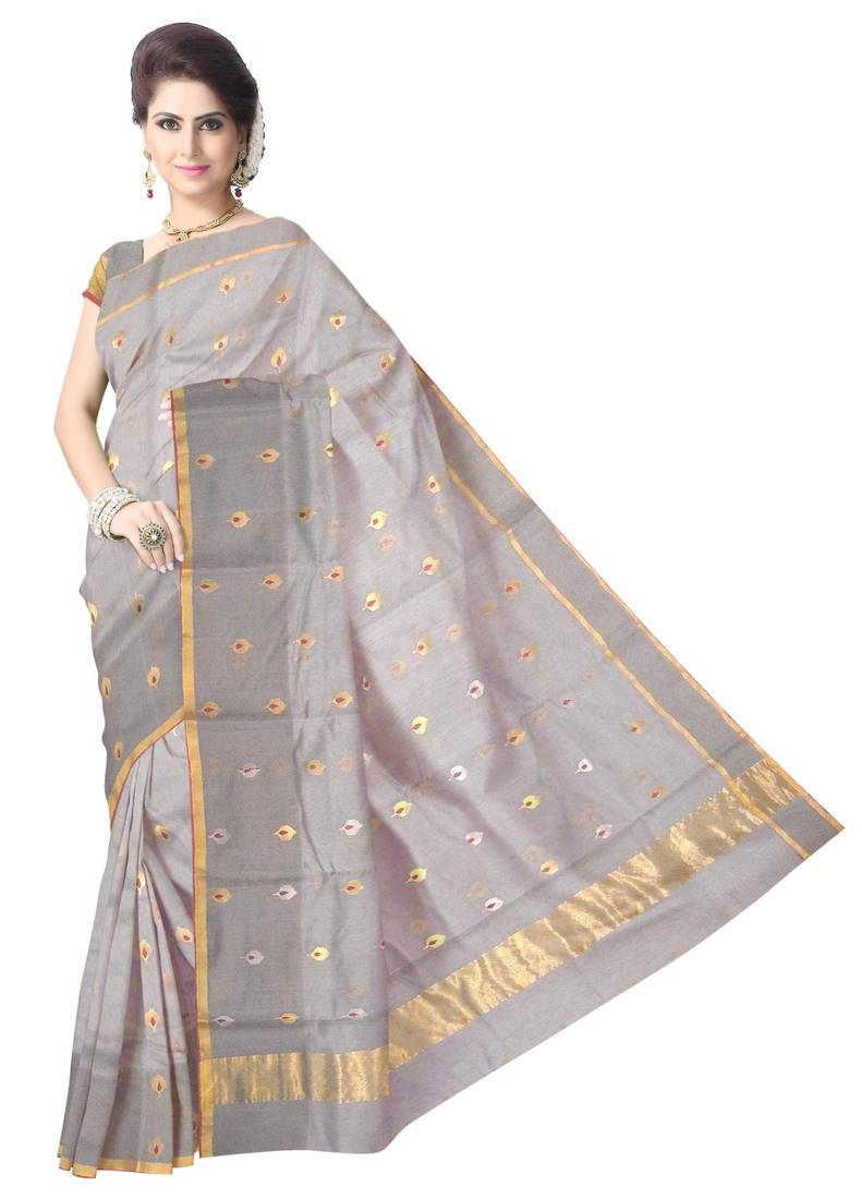 Buy Grey Handwoven Silk Cotton Chanderi Saree With Blouse