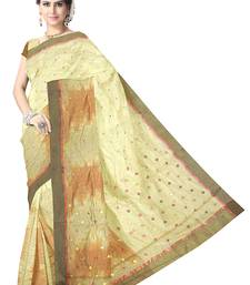 Buy Creamish Offwhite Handwoven Silk Cotton Chanderi Saree with Blouse chanderi-saree online
