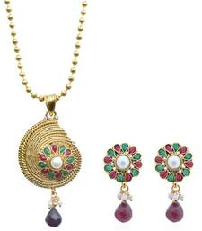 Buy Crunchy Fashion cryptic waves green maroon pendant set Necklace online