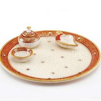 Diwali Puja Thali Gold Embossed - Marvel In Marble 64
