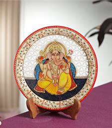 Buy Carved GANAPATI painted Marble Plate  diwali-gift online