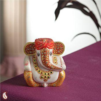 Gold work Ganesh with turban