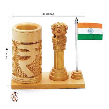 Diwali gifts offer Indian Emblems Pen Stand carved in pure White wood