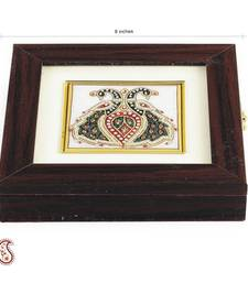 Buy Twin Peacock Design stone Inlay work Square Gem Box eid-gift online