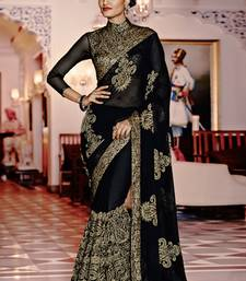 Buy Black embroidered georgette saree with blouse heavy-work-saree online