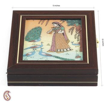 Gem Casket made from Solid Wood, Stone Inlay work