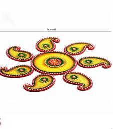 Buy Diwali Gift Hampers - Yellow, Green and Red Wood Clay Keri Floor Art { Rangoli } onam-festival-gifts-kerala-2013 online