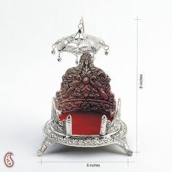 White Metal Miniature Throne with Filigree Umbrella