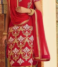 Buy Red embroidered velvet semi stitched salwar with dupatta party-wear-salwar-kameez online