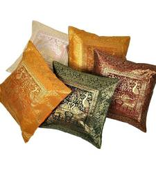 Buy Charming Multicolor Brocade 5 Pc Cushion Cover Set Diwali Special Gift 431 diwali-decoration online