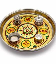 Buy Meenakari Work Shubh Laabh Decorative Pooja Thali Deepawali Gift 364 diwali-decoration online